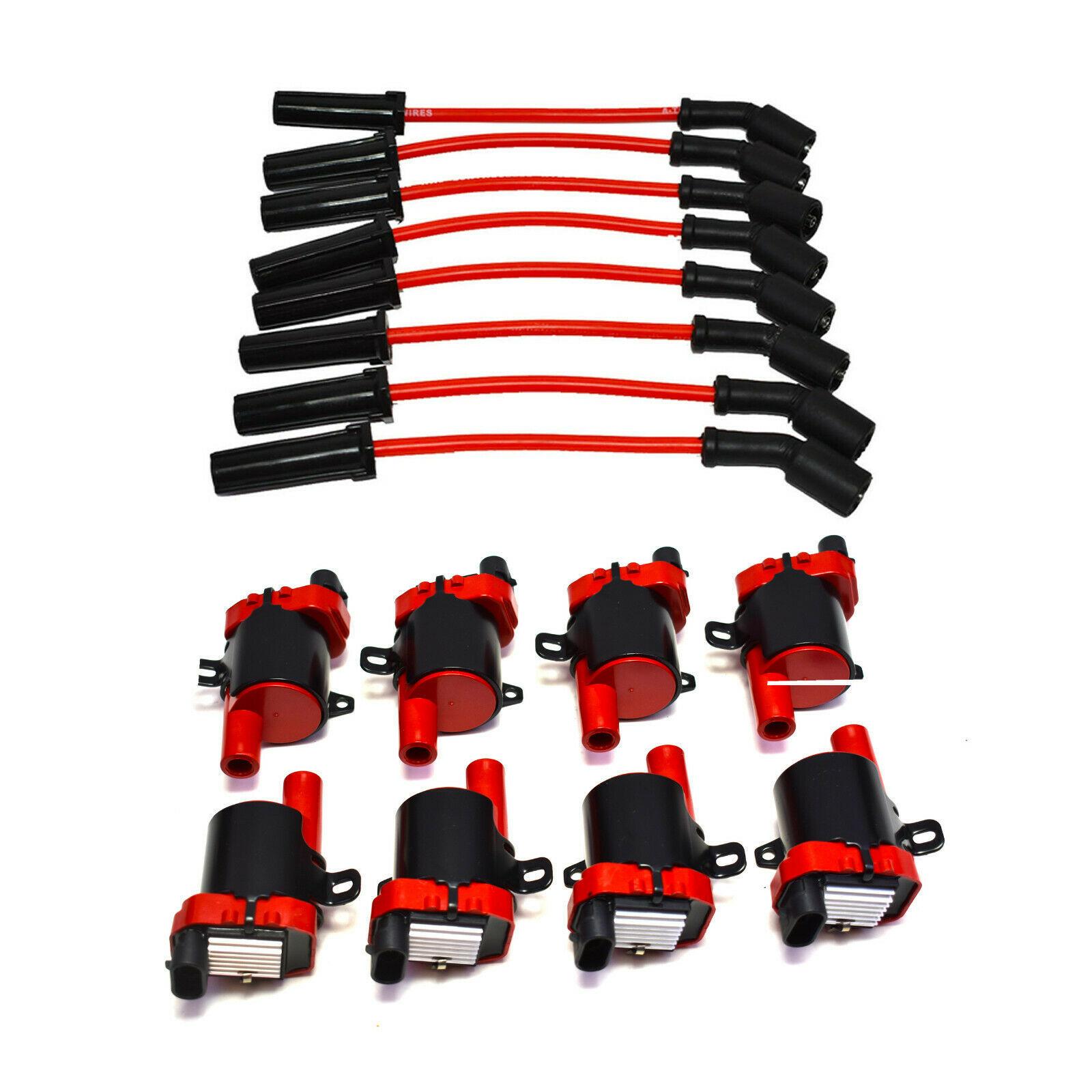 """Chevrolet GM GMC LS LSX LS1 LS2 LS3 LS6 8 Coils & 8"""" 8mm Spark Plug Wires D585"""