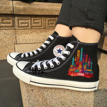 Shoes Converse Black Original Design China Cities Landmark Chuck Taylor Sneakers - $119.00