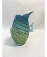8 inch Blue and Green Striped Fish Art Glass Figural Vase Handmade - $21.48