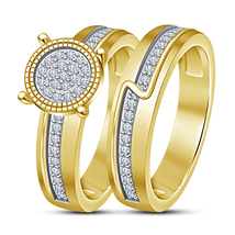Her Wedding Anniversary Bridal Diamond Ring Set 14k Gold Finish 925 Soli... - $92.99