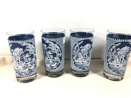 VTG Royal lot of 4 Currier & Ives Tumblers Water Glasses Blue On White USA - $43.81