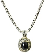 David Yurman Sterling Silver 14K Gold Onyx Pendant Necklace Albion - $599.99
