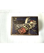 Vintage Hinged Trinket Box Painted Jewelry Storage Chicken Art Print Bir... - $17.81