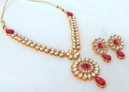 Fashion Jewelry Set Indian Gold Plated Kundan Fuchsia Bridal Jewelry Necklace - $11.88