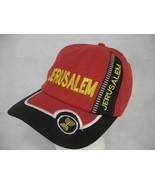 JERUSALEM Israel Jewish Menorah Traveler's Baseball Cap Hat Adjustable Red - $7.91