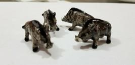 Lot of Four RAZORBACK HOGS Miniature Porcelain WART Wild Boar Tusks PIGG... - $11.25