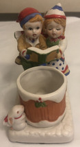Vintage Christmas Ceramic Girl &boyCandle Holder - $9.90