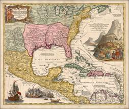1720 map Florida Carolinas Mexico New Spain England Virginia World 19990 - $15.84