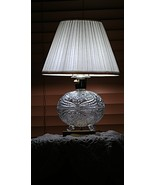 Vintage Crystal Egg Etched Footed Lamp Clear Small Table Light  - $99.00
