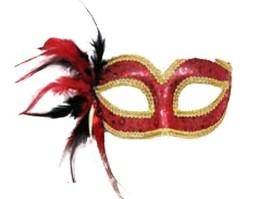 Red Sequin Venetian Style Mardi Gras Masquerade Mask w/ Feathers & Rhinestone - $13.91