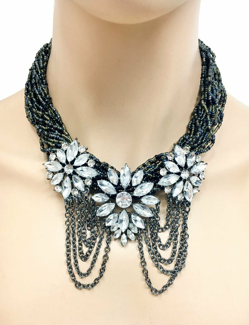 Primary image for Black Beads & Rhinestones Statement Bohemian Floret Necklace Earrings Chic Goth