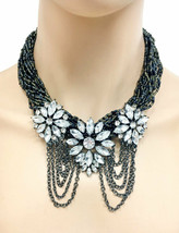Black Beads & Rhinestones Statement Bohemian Floret Necklace Earrings Ch... - $23.75