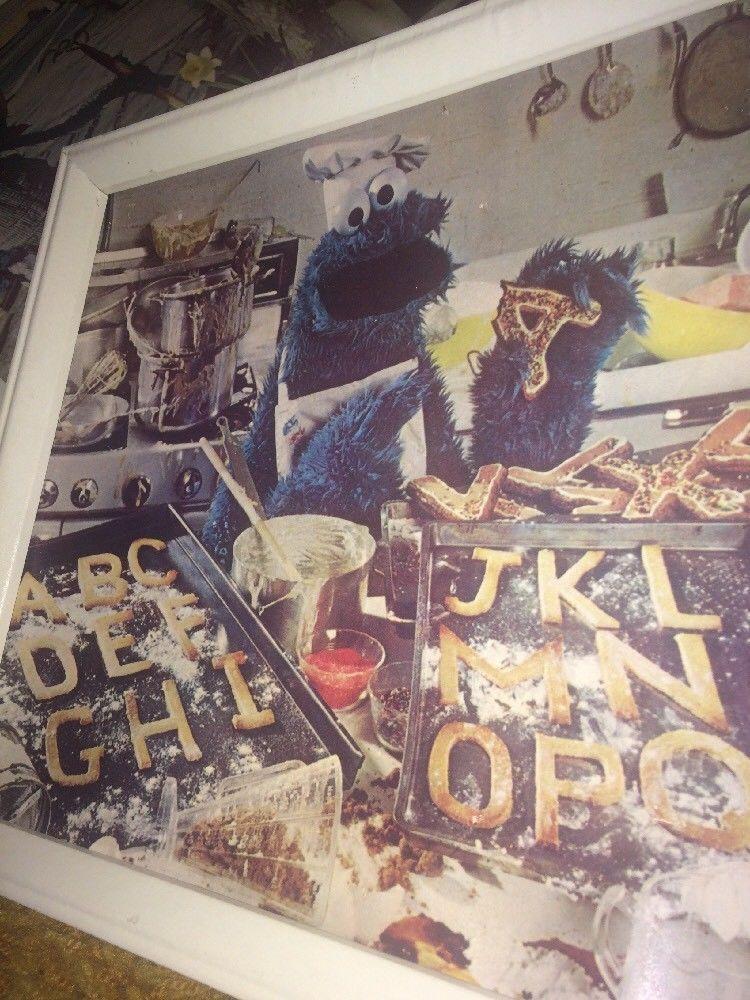 """VTG LOT 3 1980's Sesame Street 11"""" X 16"""" Framed Art Prints Cookie Monster Grover"""