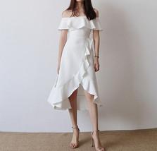 Women Blush Pink Off Shoulder Midi Dress Slit Chiffon Wedding Dress,blush pink image 6