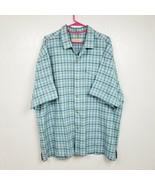 Tommy Bahama Mens 100% SIlk Button Shirt XXL 2XL Blue Gray Plaid Striped SS - $35.49