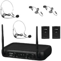 VHF Fixed Frequency Wireless Microphone System With 2 Lavalier & 2 Heads... - $60.99