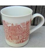 English Village Scene Mug Cup Red Transferware - $20.00