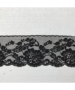 Black Floral Lace Trim Edging Scalloped 6+ Yds L 3 in.W Lingerie Notions... - $39.99