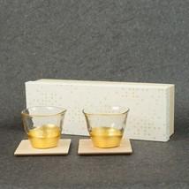 Hakuichi Intrusion gold leaf Cold tea bowl & coaster pair Set Japanese style - $197.29