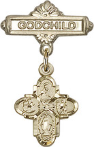 14K Gold Baby Badge with 4-Way Charm and Godchild Badge Pin 1 X 5/8 inch - $447.26