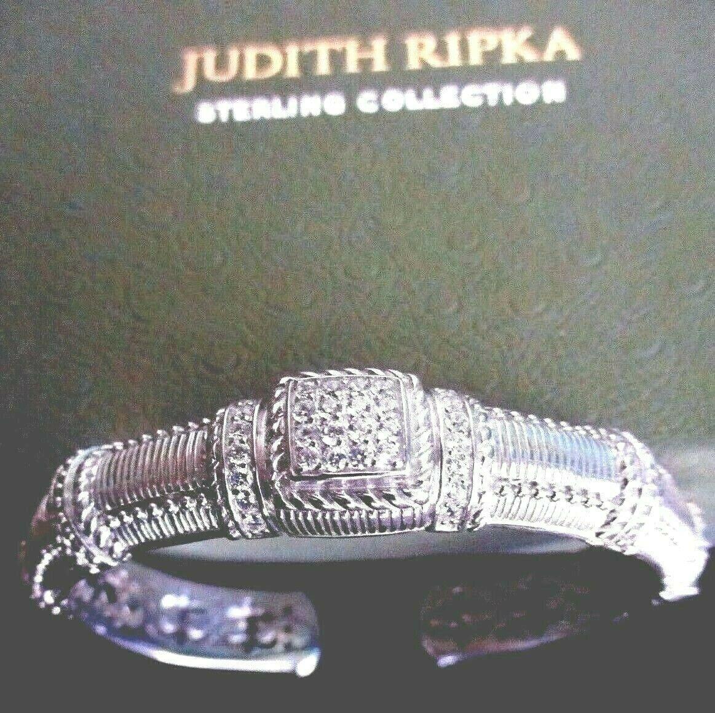 JUDITH RIPKA STERLING SILVER DIAMONIQUE CABLE CUFF BRACELET JR BOX & POUCH AVGE image 5