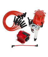 BBC CHEVY 396 454 SMALL CAP DISTRIBUTOR + RED 8mm SPARK PLUG WIRES STRAIGHT BOOT - $118.79