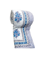 White Blue Floral Print King Quilt Of Premium Quality 100 Percent Cotton Bedding - $120.00
