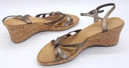 EASY SPIRIT Size 9.5 Bronze Gold Silver Open Toe Ankle Strap Wedge Sandals - $26.71