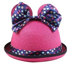Summer Fashion Sun Hat For Kids With Bowknot Decor&Wave Point Pattern Rose Red