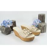 Tory Burch Ines 80MM New Cream Gold Leather Wood Wedge Slides Mules 8.5 NIB - $172.76