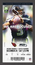 2016 SEAHAWKS vs ARIZONA CARDINALS Full Season Ticket Stub 12/24 RUSSELL... - $2.49