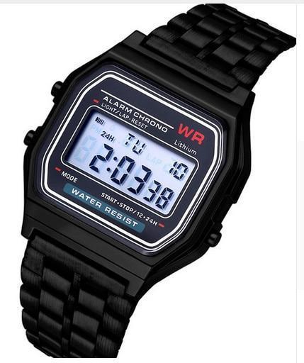 Fashion Men Women LED Digital Watch Clock Gold Silver Vintage Full Stainless Ste