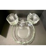 Hazel Atlas Orchard Clear Glass Apple Salad / Dessert Bowl Set 9 Pieces - $56.10