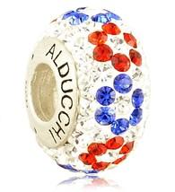 Alducchi  Red - White - Blue Swarovski Crystal 925 Silver European Charm... - $25.95