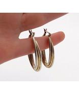 925 Sterling Silver - Vintage Shiny 2 Tone U-Shape Triple Hoop Earrings ... - $31.94