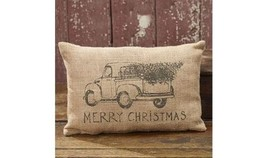 "12"" x 8"" MERRY CHRISTMAS Pickup Truck Burlap Pillow - $91.39"