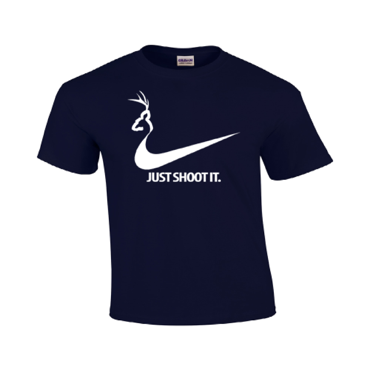 c12d1b25 Just Shoot It T Shirt Funny College Humor Hunting Nike Duck Logo Mens  Gildan 117