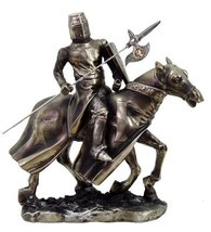 8.5 Inch Armored Medieval Knight Riding on Horse Statue Figurine - $44.55