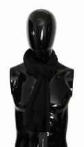 Dolce & Gabbana Mens Dark Gray Striped Wrap 100% Fringed Silk Scarf 180c... - $147.51