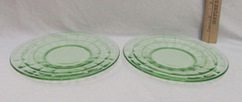 Vintage Anchor Hocking Green Glass Saucers Depression Block Optic Patter... - $9.89