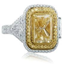6 Carat Radiant Halo Yellow Diamond Engagement Ring 18k White Gold w/Tri... - €15.559,36 EUR