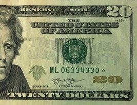 2013 $20 Star Note ✯ Twenty Dollar Bill Serial Number ML 06334330* Crisp... - $29.11