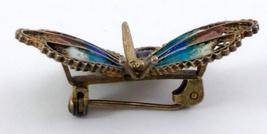 Butterfly Brooch 800 Vermeil Filigree Enamel image 2