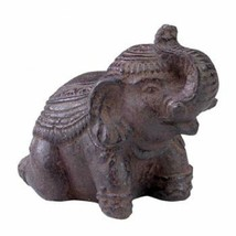 """Stone Lucky Elephant Trunk Up Outdoor Indoor Statue 5"""" H Brown - $28.71"""