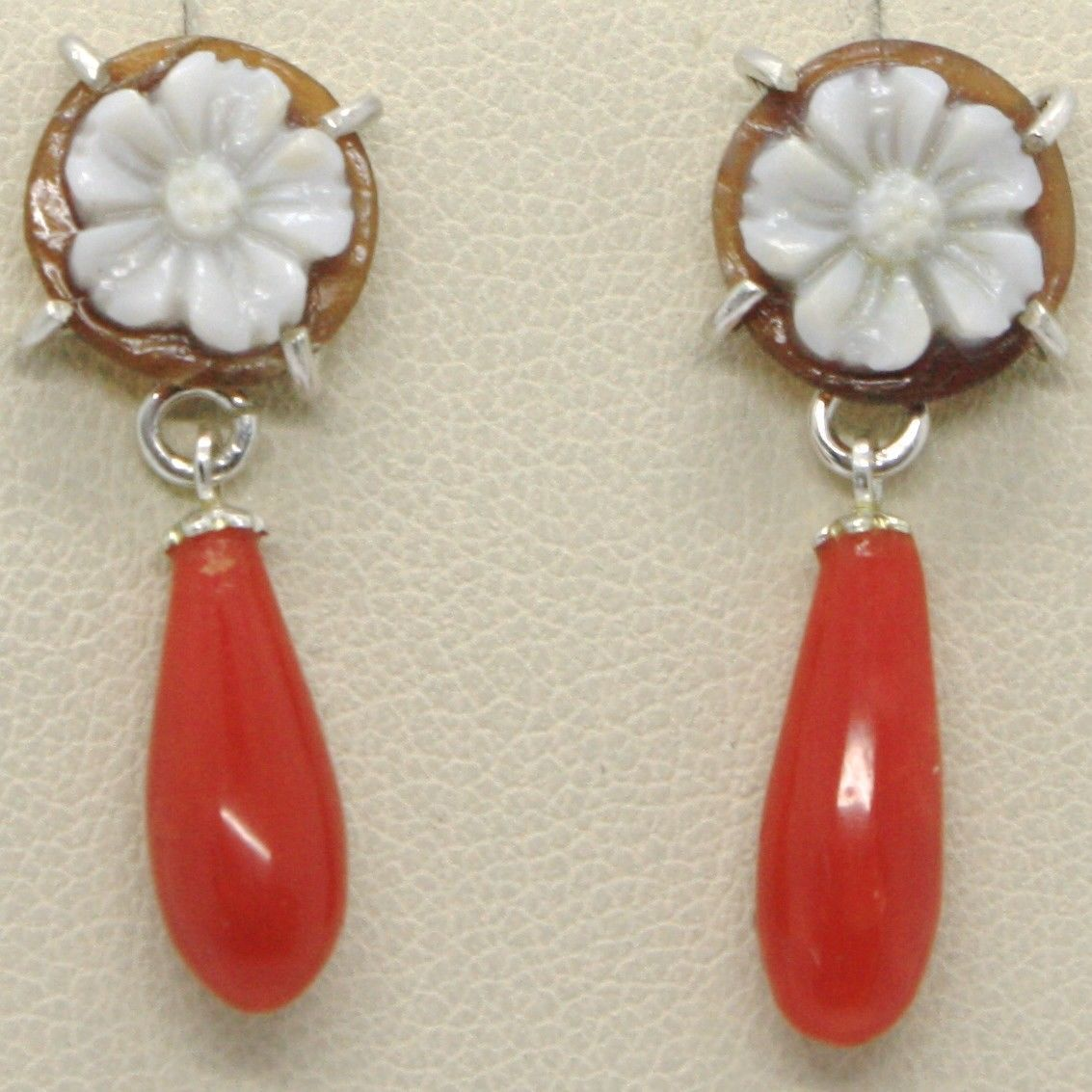 EARRINGS SILVER 925 WITH DROP OF RED CORAL NATURAL AND CAMEO CAMEO