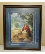 """Lost No More"" Greg Olsen Art Lithograph Signed Framed Jesus Shepherd Sheep - $387.95"