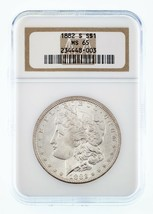 1882-S Argent $1 Dollar Morgan Gradé par NGC comme MS-65 ! Great Strike! - $157.57