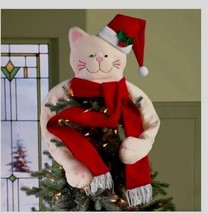 Large Cat Christmas Tree Topper Poseable Holiday Decoration Santa Cats O... - $49.45