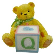 Cherished Teddies BEAR WITH ABC BLOCK 158488 Q Teddy Bear Miniature Bloc... - $3.41