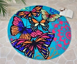 "59"" Round Butterfly Design Beach Towel Teal Background Polyester"